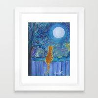 Cat On A Fence In The Mo… Framed Art Print