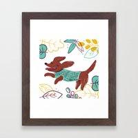 Happy Fall, Dogs! (Ginger) Framed Art Print