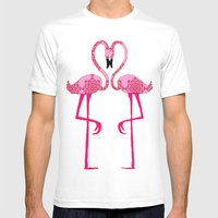 Flamingo  In Love Mens Fitted Tee White SMALL