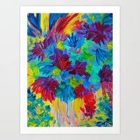 TUTTI FRUTTI - Fruit Punch Floral Bouquet Flowers Bright Bold Colorful Painting Romantic Rainbow Art Print