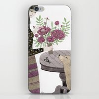 Girl, her Dog and bouquet of Flowers iPhone & iPod Skin