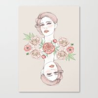 Woman With Flowers And B… Canvas Print