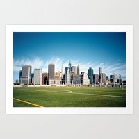 The Financial District from the Field  Art Print