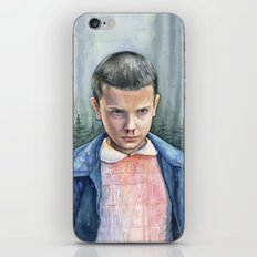 Eleven from Stranger Things Watercolor Portrait Art iPhone & iPod Skin