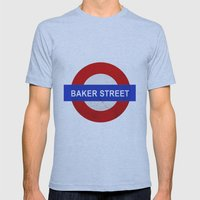Sherlock Baker Street Print Mens Fitted Tee Athletic Blue SMALL