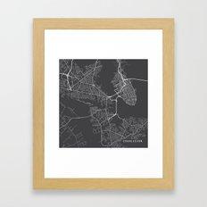 Charleston Map, USA - Gray Framed Art Print