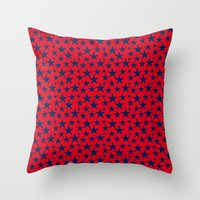 Blue stars on bold red background illustration. Throw Pillow