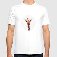 Flower Crown Giraffe Mens Fitted Tee White SMALL