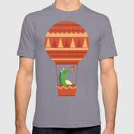 Dragon On Hot Air Balloo… Mens Fitted Tee Slate SMALL