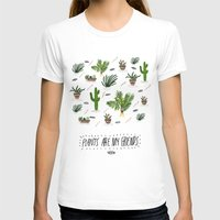 PLANTS ARE MY FRIENDS Womens Fitted Tee White SMALL