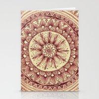 mandala: maroon Stationery Cards