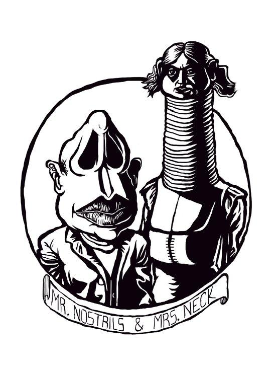 Mr. Nostrils and Mrs. Neck Art Print