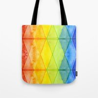 Abstract Rainbow Watercolor Pattern Tote Bag