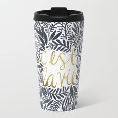 C'est la Vie – Grey & Gold Travel Mug