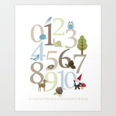 Woodland Numbers Art Print