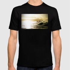 Surf Sunset Mens Fitted Tee Black SMALL