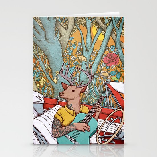 A ride and a song Stationery Card