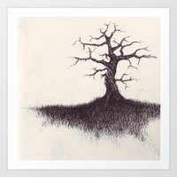 tree on the hill Art Print