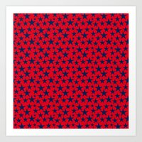 Blue stars on bold red background illustration. Art Print