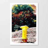 Yellow Fire Hydrant Comi… Canvas Print