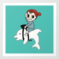 B Team Albino Dolphin Scout Art Print