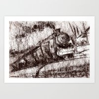 Steam Train Sepia Art Print