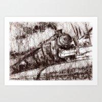 Steam train sepia Art Print