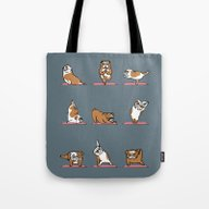 Tote Bag featuring English Bulldog Yoga by Huebucket
