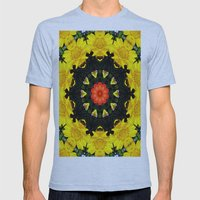 Flower Wreath Mens Fitted Tee Athletic Blue SMALL