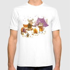 Critters: Fall Camping Mens Fitted Tee White SMALL