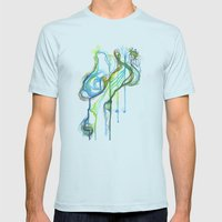 Aqua Trickle Mens Fitted Tee Light Blue SMALL
