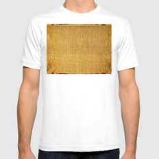 Burlap texture look Mens Fitted Tee White SMALL