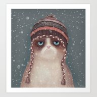 Art Print featuring Christmas Cat by Lime