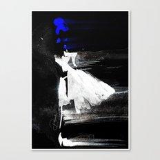Blown Away ( Watercolor Abstract artwork, Feminine, Elegant, Black, Blue ) Canvas Print