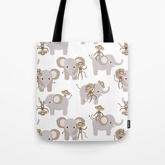 Monkey and elephant Tote Bag