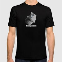 Pussy Rules Mens Fitted Tee Black SMALL