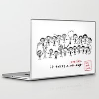 community Laptop & iPad Skins featuring it takes a village - i mean - a species by Dani Katz