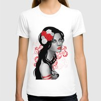Goth Girl with Flowers in her Hair Womens Fitted Tee White SMALL
