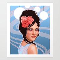 Retro Dancer with Beehive Hairdo Art Print
