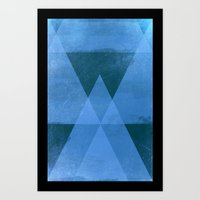 Distressed Triangles Art Print