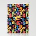 Monster Faces Pattern Stationery Cards