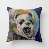 Space Panda Throw Pillow