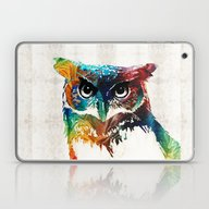 Colorful Owl Art - Wise … Laptop & iPad Skin