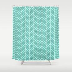 Turquoise Herringbone Pa… Shower Curtain