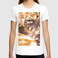 Cat in the shadows Womens Fitted Tee White SMALL
