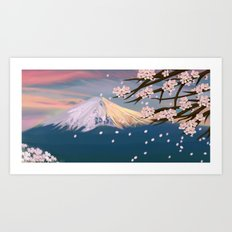 mt. fuji and cherry blossoms Art Print
