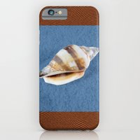 iPhone Cases featuring Seashell on Sand and Wood by Linda Tomei