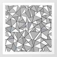 Abstract Lines With Grey… Art Print
