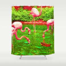 Flaming Flamingo Shower Curtain