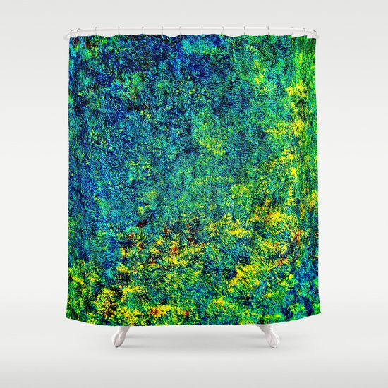 Abstract Flowers Yellow And Green Shower Curtain By Costa